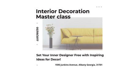 Plantilla de diseño de Interior decoration masterclass with Yellow Sofa Facebook AD