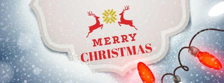 Plantilla de diseño de Christmas Greeting with Festive Deers Facebook cover