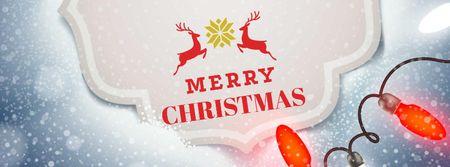 Ontwerpsjabloon van Facebook cover van Christmas Greeting with Festive Deers