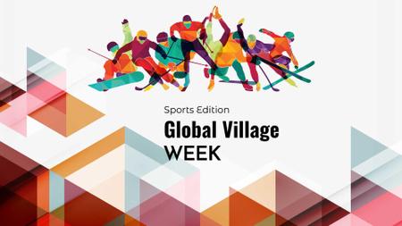 Ontwerpsjabloon van FB event cover van Global Village Week Announcement with Athletes