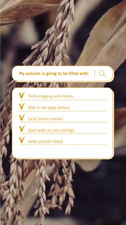 Autumn Inspirational List with Dried Wheat Ears Instagram Video Story Design Template