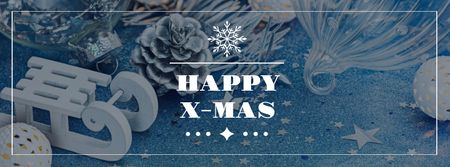 Modèle de visuel Christmas Greeting with Sleigh and Holiday Decorations - Facebook cover