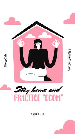 Plantilla de diseño de #KeepCalm challenge Woman meditating at Home Instagram Story