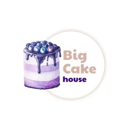 Plantilla de diseño de Sweets Store Offer with Yummy Blueberry Cake Logo