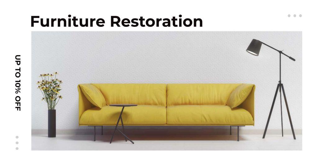Furniture ad with Sofa in yellow — Crear un diseño