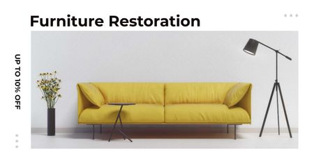 Template di design Furniture ad with Sofa in yellow Facebook AD