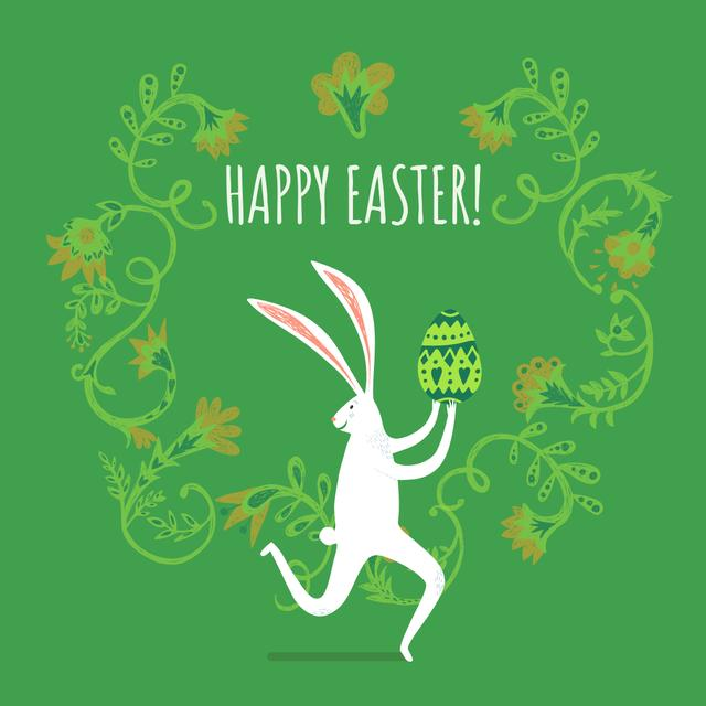 Happy Easter card with White Rabbit Instagram Design Template