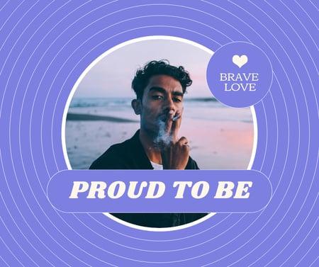 Inspirational Phrase with Attractive Man smoking Facebook Modelo de Design