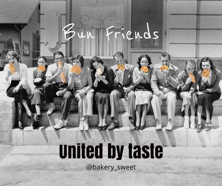 Designvorlage Funny Bakery Promotion with People eating Buns für Facebook