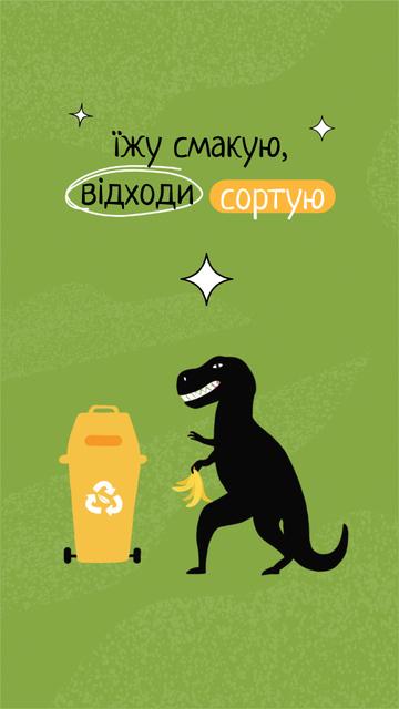 Eco concept with Dinosaur recycling Trash Instagram Story Tasarım Şablonu