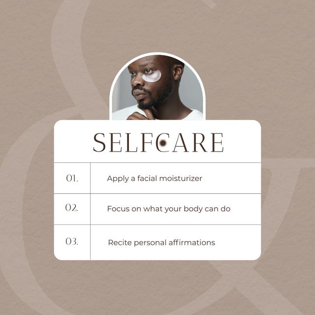 Selfcare Ad with Cosmetic Eyepatches on Man's Face Instagram – шаблон для дизайна