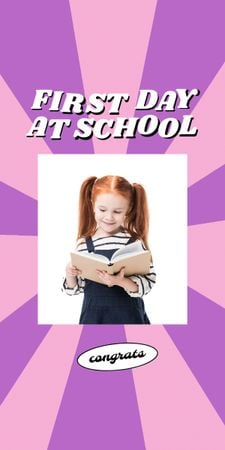 Back to School with Cute Pupil Girl with Backpack Graphic – шаблон для дизайна