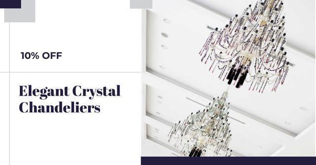 Ontwerpsjabloon van Facebook AD van Elegant crystal Chandeliers offer