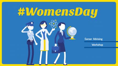 Designvorlage Women's Day Announcement with Diverse Female Professions für FB event cover