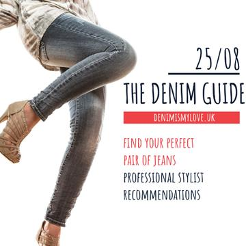 Stylish Woman in Denim Clothes