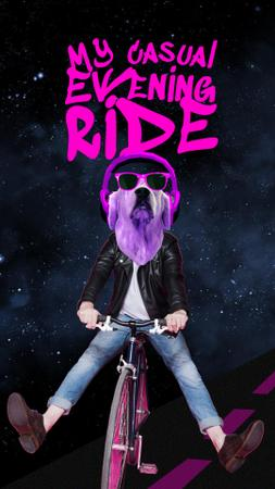 Funny Dog in Sunglasses riding Bicycle Instagram Story Modelo de Design