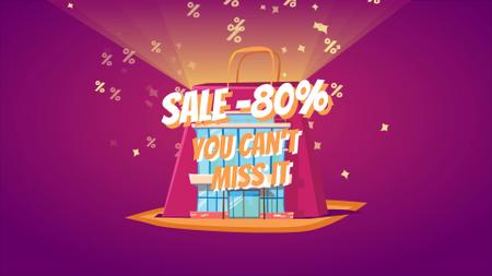 Designvorlage Shopping bag with percent icons für Full HD video