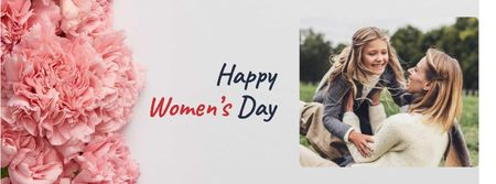Women's Day Greeting with Mother holding Daughter Facebook coverデザインテンプレート