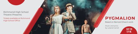 Ontwerpsjabloon van Twitter van Pygmalion performance in Theater Announcement