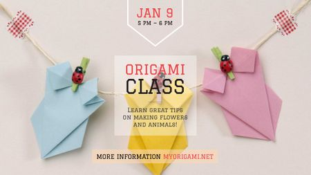 Origami Classes Invitation Paper Garland Title Modelo de Design