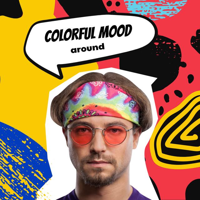 Plantilla de diseño de Mood Inspiration with Stylish Man in Red Sunglasses Instagram