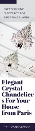 Plantilla de diseño de Elegant Crystal Chandeliers Offer in White Skyscraper