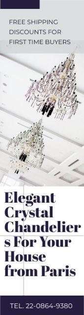 Plantilla de diseño de Elegant Crystal Chandeliers Offer in White Skyscraper