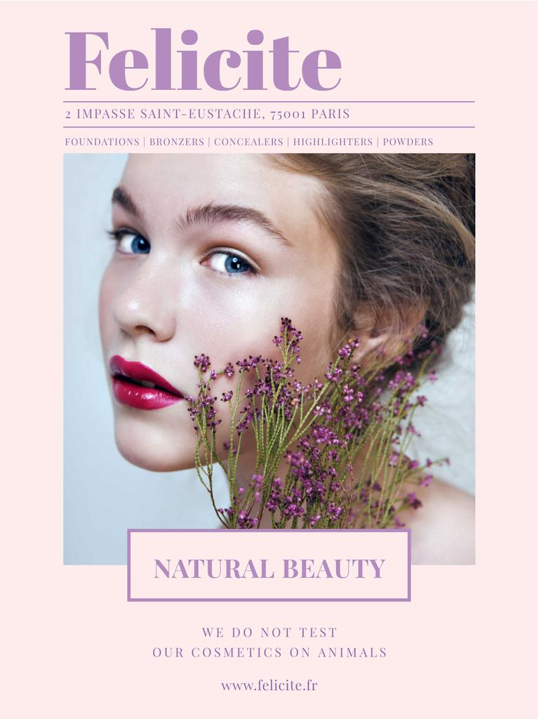 Natural cosmetics ad with Woman holding flowers Poster US – шаблон для дизайна