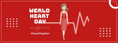 Modèle de visuel World Heart Day Announcement with Cardiogram - Facebook cover