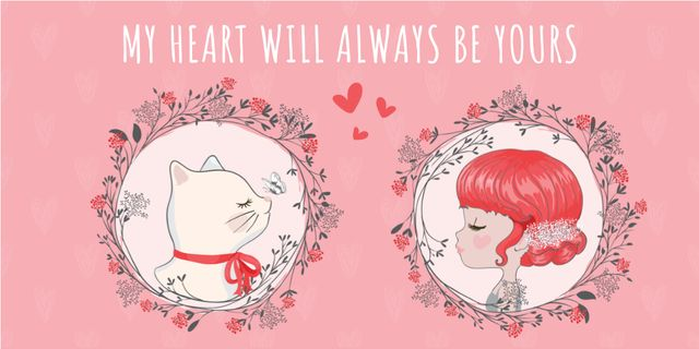 Love Quote Girl and Cat portraits Image – шаблон для дизайна