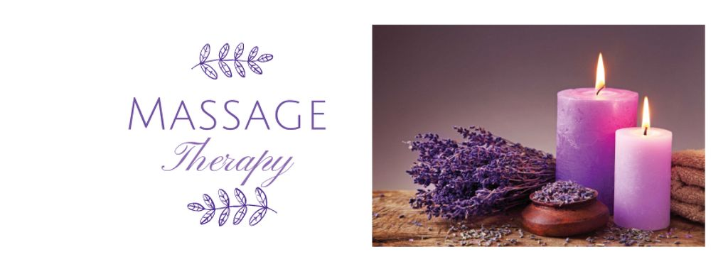 Massage Therapy Services with Purple Candles —デザインを作成する