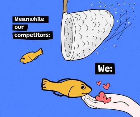 Plantilla de diseño de Joke about Competitors with fish Facebook
