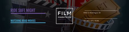 Plantilla de diseño de Film marathon night Announcement Twitter