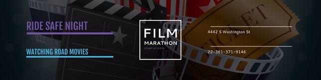 Ontwerpsjabloon van Twitter van Film marathon night Announcement