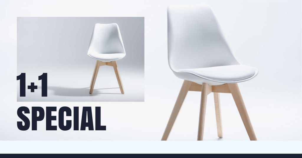 Furniture Store Offer with white minimalistic Chair — Maak een ontwerp