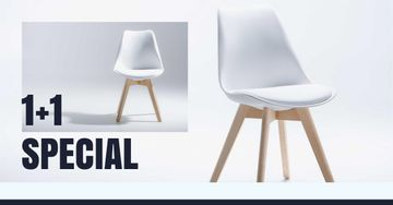 Furniture Store Offer with white minimalistic Chair