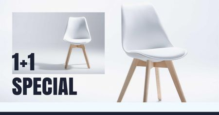 Furniture Store Offer with white minimalistic Chair Facebook AD Modelo de Design