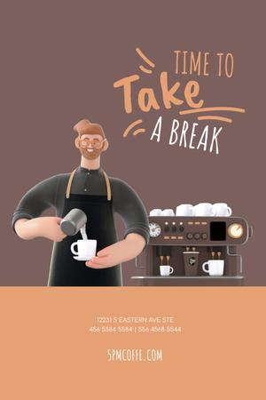 Platilla de diseño Barista Making Coffee by Machine Pinterest