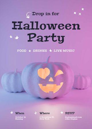 Halloween Party Announcement with Bright Pumpkin Invitation – шаблон для дизайна