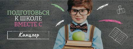 Back to School with Boy Pupil in classroom Facebook cover – шаблон для дизайна