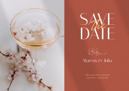Ontwerpsjabloon van Card van Wedding Announcement with Tender White Flowers