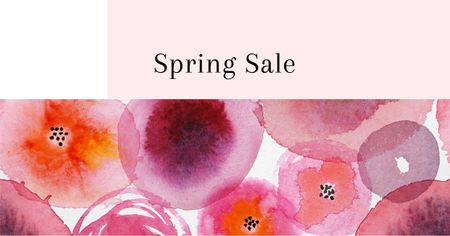 Spring Sale Announcement with Abstract Illustration Facebook AD Design Template