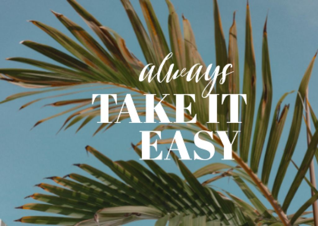Inspirational Phrase with Exotic Leaves Card – шаблон для дизайна