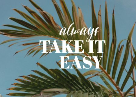 Template di design Inspirational Phrase with Exotic Leaves Card