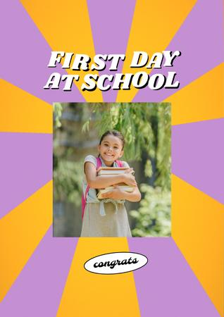 Modèle de visuel Back to School with Cute Pupil Girl with Backpack - Poster