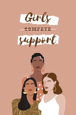 Girl Power Inspiration with Diverse Women Pinterest Modelo de Design