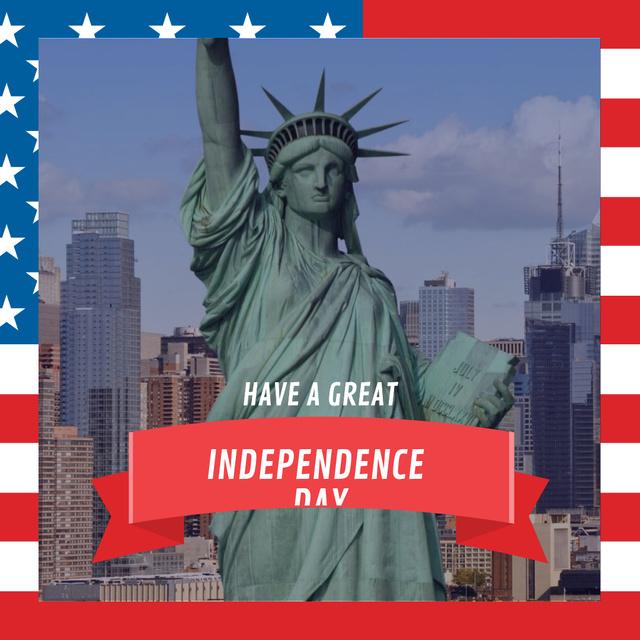 Plantilla de diseño de USA Independence Day with statue of Liberty Instagram