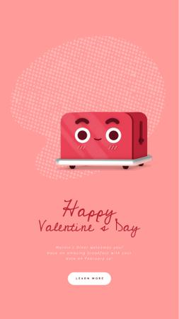 Plantilla de diseño de Valentine's Day Cute Red Toaster with Heart Instagram Video Story