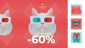 Cat Day Deal Funny Cat in 3D Glasses