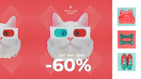 Designvorlage Cat Day Deal Funny Cat in 3D Glasses für Full HD video